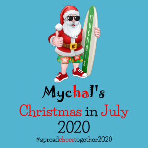 Mychals Christmas in July Blue Background